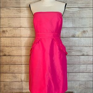 J. Crew Hot Pink Strapless Ruffled Fitted Dress